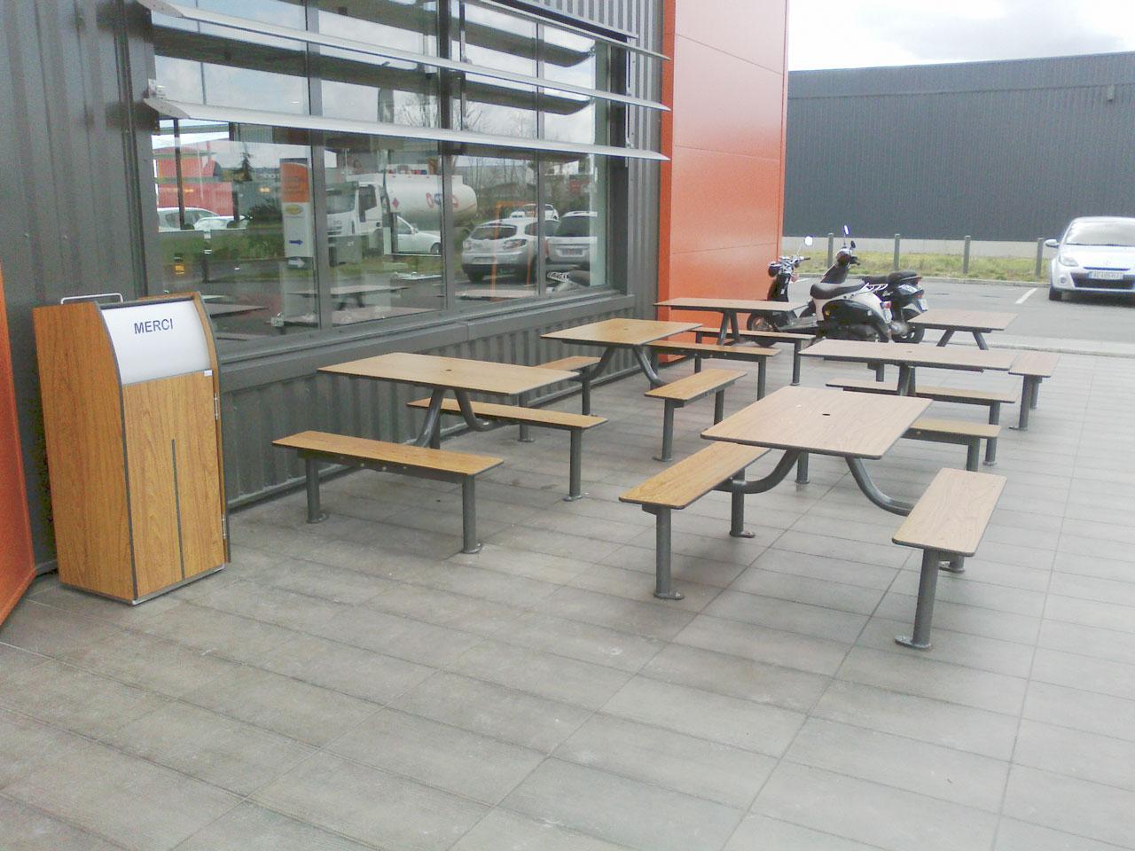 Mobilier terrasse restaurant pique nique bancs et - Table de terrasse restaurant ...