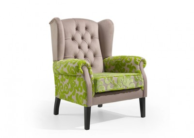 Fauteuil EHPAD vert et taupe