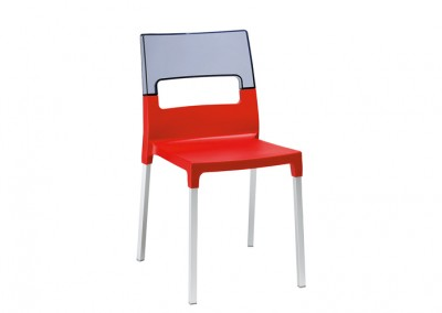 Chaise resto design rouge-fumé