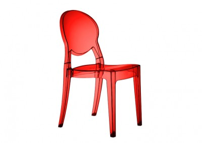 Chaise restaurant rouge translucide