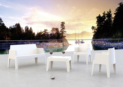 Mobilier terrasse lounge blanc
